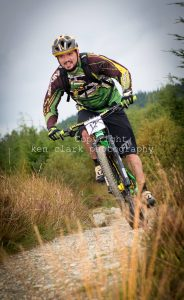 Mountain biker in trail in Dunoon
