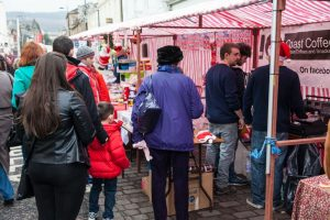 People shopping at Dunoon Christmas Market